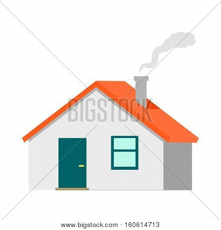 House vector illustration. Flat design. Cottage with red roof and smoke from chimney. Illustration of dwelling for real estate concepts, infographic, icons or web design. Isolated on white background