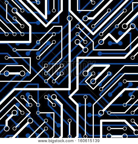 Vector electronic pattern with microchip scheme luminescent circuit board high tech futuristic background. Digital connections