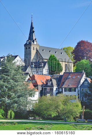 Old Town of Kettwig at River Ruhr in Ruhrgebiet,North Rhine Westphalia,Germany