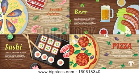National dishes and drinks web banners. Pizza, beer, sushi, sea food horizontal concepts on wooden background. German, Japanese, Italian, Spanish cuisine famous dishes. For restaurants web page design