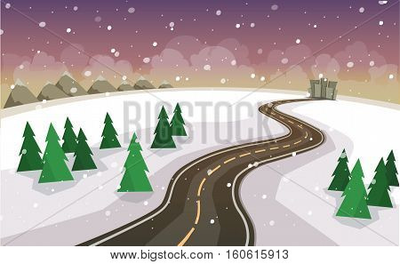 Vector illustration in a flat style. The winter landscape of forests mountains road and city.