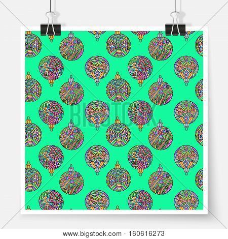 Christmas tree balls pattern. Zentangle New Year poster on binder clips. Winter holiday postcard background. Vector illustration for Christmas printed products or web design.
