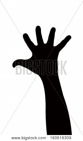a black color hand silhouette vector art