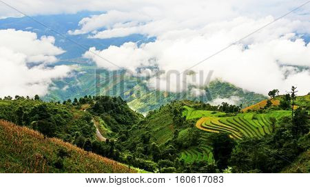 Wide landscape of Lang Mo mountain pass in Sin Ho highland, Lai Chau province, Vietnam.