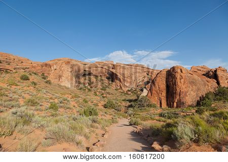 scenic landscape arch in arches national park Moab Utah
