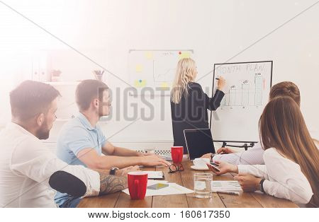 Woman's project presentation. Young happy businessmen at modern office, team corporate discussion at workplace, write information on board. Brainstorming and communication with partners for startup