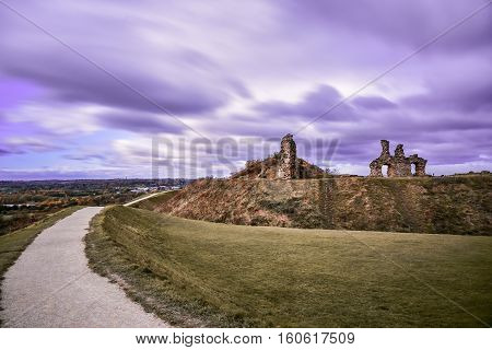 Ruin of medieval Sandal Castle in Wakefield England
