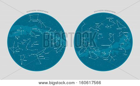 High detailed star map with names of stars and constellations vector