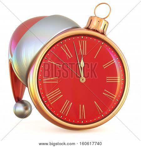 Midnight New Year's Eve last hour Christmas ball clock countdown time Santa hat decoration ornament red gold adornment. 3d illustration