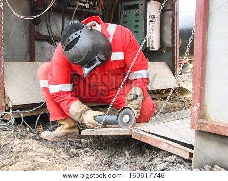 Safety at work. Welding and grinding of iron constructions. Industrial weekdays welders and fitters. poster