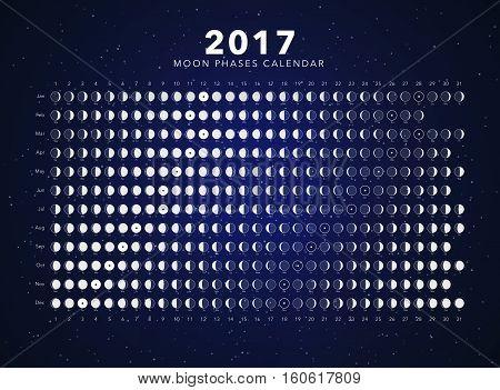 moon phases calendar vector on dark blue
