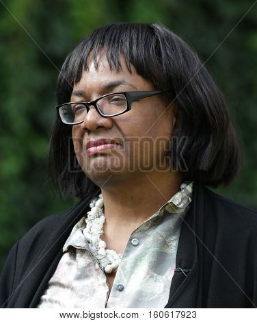 LONDON, UK, SEP 9, 2015: Diane Abbott MP British Labour Party politician seen outside Parliament picture taken in the street