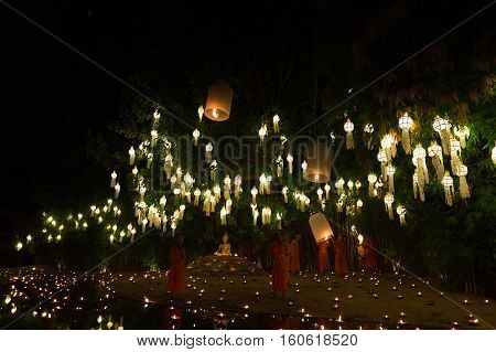Buddhist Monk Floating Hot Air Balloon In Yeepeng And Loy Krathong Festival