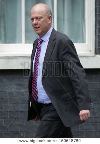 LONDON, UK, SEP 15, 2015: Chris Grayling MP Leader of the House of Commons and Lord President of the Council seen attending the cabinet meeting in Downing Street London