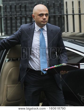 LONDON, UK, SEP 15, 2015: Sajid Javid MP Secretary of State for Business Innovation and Skills and President of the Board of Trade seen attending the cabinet meeting in Downing Street London