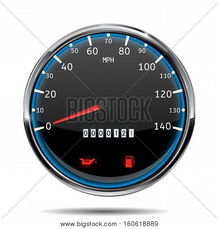 Speedometer. Miles per hour. Vector illustration isolated on white background