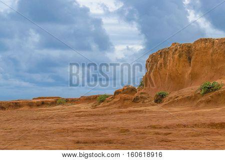 Orange rocks formation landscape scene at Pipa Brazil