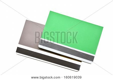 green Bank books whit white background, financial