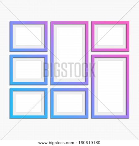 Set of modern Picture frames with unusual coloring. Photo art gallery. Variety sizes of realistic frame with empty space isolated on white background for presentation and showcasing purposes.