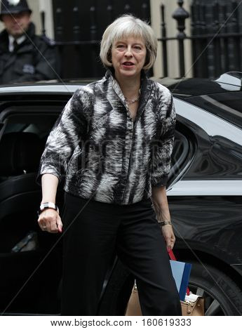 LONDON, UK, SEP 15, 2015: Theresa May MP Secretary of State for the Home Department seen attending the cabinet meeting in Downing Street London