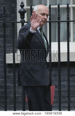 LONDON, UK, SEP 15, 2015: Iain Duncan Smith MP Secretary of State for Work and Pensions seen attending the cabinet meeting in Downing Street London