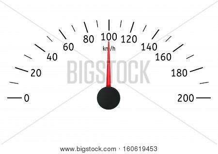 Speedometer. Kilometers per hour. Vector illustration isolated on white background
