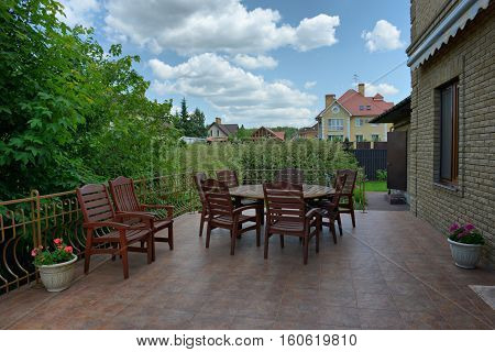 Russia,Moscow area, outdoor summer terrace in the prestigious country cottage