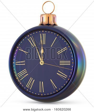 New Year's Eve clock midnight last hour countdown Christmas ball decoration. 3d illustration