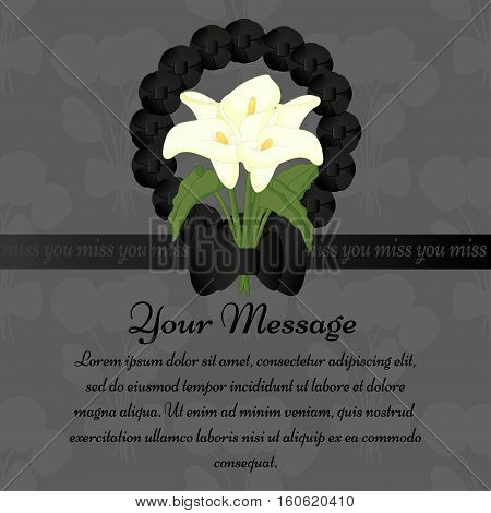 Mourning frame with calla flowers, funeral wreath and ribbon. Grey background.