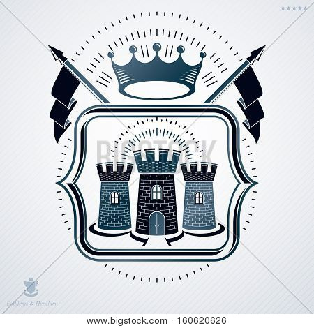 Classy Emblem Made With Pentagonal Stars Decoration, Medieval Stronghold Symbol. Vector Heraldic Coa