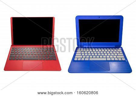 red and blue laptop isolated on white background