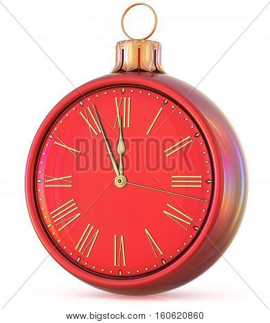 New Year's Eve clock midnight countdown last hour pressure Christmas ball ornament decoration red golden sparkly adornment bauble. 3d illustration