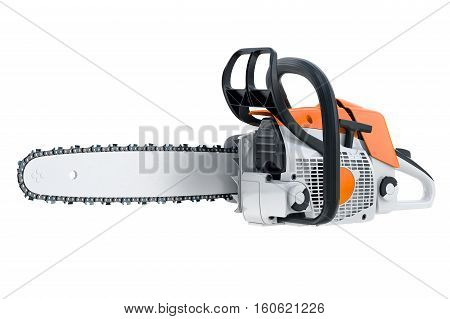 Chainsaw gasoline orange, white and black, modern style. 3D rendering