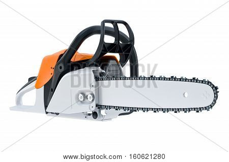 Chainsaw gasoline white professional tool. 3D rendering