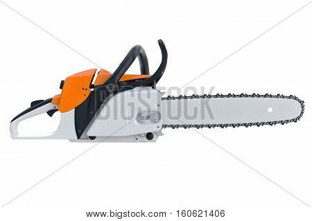 Chainsaw gasoline cutter machinery technology, side view. 3D rendering