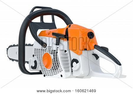 Chainsaw gasoline machine sawing equipment. 3D rendering