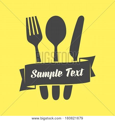 Cutlery vector icon. Fork, knife, tablespoon sign. Food emblem. Serving. Black silhouette on yellow background