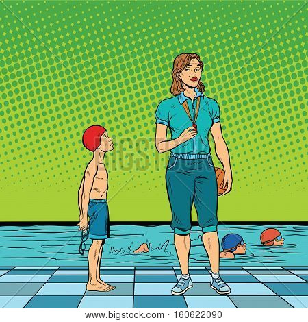 Female swimming coach disgruntled student. Pop art retro vector illustration. Poor results in sports. Discrimination against special children