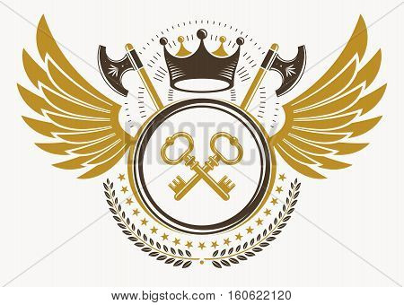 Vintage Decorative Heraldic Vector Emblem Composed With Eagle Wings, Hatchets And Keys