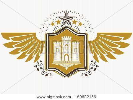 Vintage Decorative Heraldic Vector Emblem Composed With Eagle Wings, Medieval Stronghold And Pentago