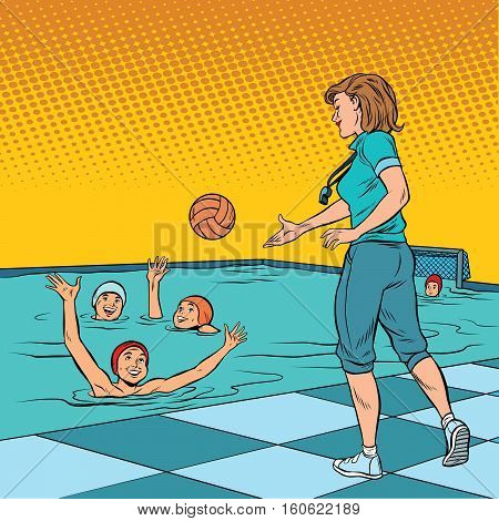 coach playing with children sport water Polo. Pop art retro vector illustration. A woman in the profession