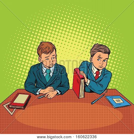 Two boys in school, bulling, discrimination. Pop art retro vector illustration. The feud between the children