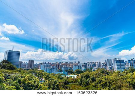 Singapore City in forrest with blue sky View point from Henderson Wave Singapore