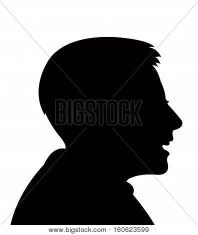a boy head, black color silhouette vector