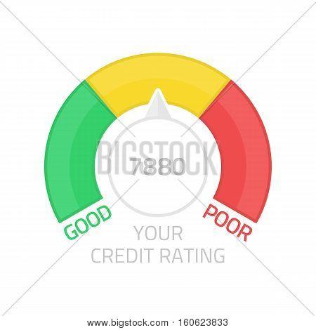 Credit Score Gauge. Flat colorful financial history assessment of credit score meter. Information finance rate. Manometer vector illustration.