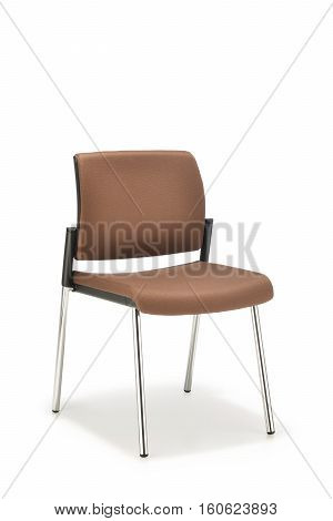 Office chair in brown fabric without armrests on white background
