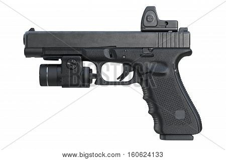 Gun weapon pistol with military scope, side view. 3D rendering