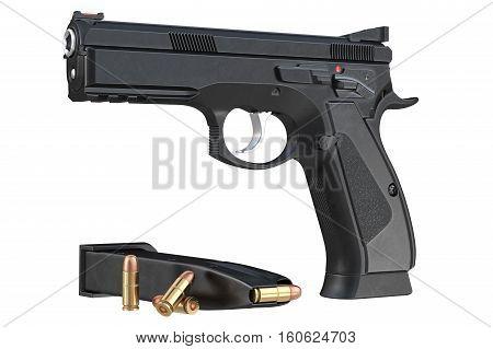 Gun weapon black modern pistol with magazine. 3D rendering