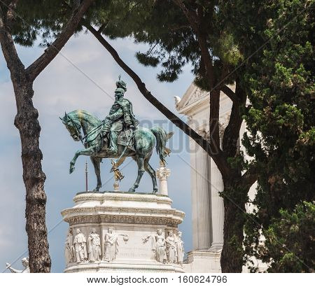 Statue of Victor Emmanuel II as it stands in front of the Altar of the Fatherland National Monument in Rome Italy.