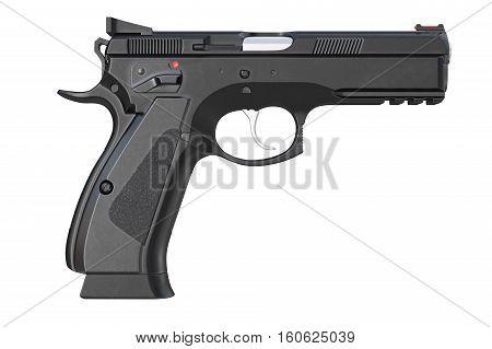 Gun weapon military modern firearm, side view. 3D rendering